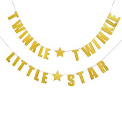 """""""TWINKLE TWINKLE LITTLE STAR"""" Banner, Gold Glitter Party Hanging Letter Banner Pennant Photo Booth Props Decorations with 2 Star Pattern and Strings"""