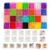 Loom Kit, Rubber Bands Refills Set for Kids Bracelet Loom Craft, 10000pcs in 28 Different Colours, 10 Packs S clips, 4 Packs Colourful Beads, 1 Pack Alphabet Beads, 4 Packs Loom Charms