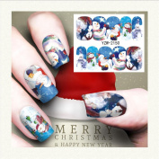 Christmas Style Nail Art Stickers Decals, Snowflakes Snowmen Stamper Gel Tips DIY Stamping Drawing Image Template Stickers