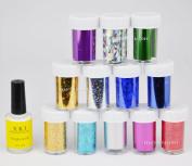 Beauties Factory 12 Colour Metallic Effect Foil Sheet & Glue Starry Galaxy Sky Laser Nail Art