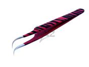 Stainless Steel Jeweller Style Tweezers #7 Pink Black Zebra Colour Fine Point