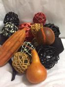Fall Vase Filler Halloween Bowl Filler For Autumn Decorating Orange And Black Rattan Decorative Spheres Twig Balls Botanicals