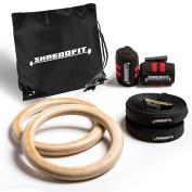2017 SHREDDFIT training rings BUNDLE | Bonus Wrist Wraps & Carry Bag | Adjustable straps | Cross Training & Gymnastics | Home & Gym Fitness | WOD | Pull Ups & Muscle Ups | Strength Training