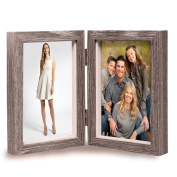 Vintage Wood Picture Frame, Rustic Double Hinged Double Wooden Picture Frame, Vertical Stand Photo Frame, Holds For 10cm x 15cm Photos