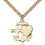 Gold Filled Faith Hope & Charity Pendant with 3mm April Crystal 7/8 x 3/4 inches with Heavy Curb Chain