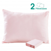 100% Cotton Sateen Toddler Pillowcases Set of 2, Soft and Cosy, 33cm x 46cm , Pink by NTBAY