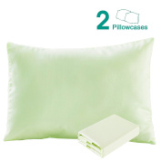 100% Cotton Sateen Toddler Pillowcases Set of 2, Soft and Cosy, 33cm x 46cm , Light Green by NTBAY