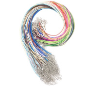 20 Colours 100 PCS 1.5mm Waxed Necklace Cord Bulk with Lobster Clasp for DIY Jewellery Making