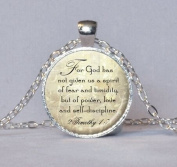 Long silver Christian Scripture Necklace - 2 Timothy 1:7 bible quote