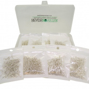 Headpings / Eyepins / Jump Rings / Earring Hooks for Jewellery Making, Silver Colour, Starter Kit Value Box