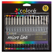 Colore PRECISION Ultra Fine Tip Micro Line Pens – Waterproof & Vibrant Colour Inking Pen Set With Variety Nib Sizes