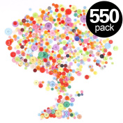 Findfly 550Pcs Assorted Colours Resin Buttons Favourite Findings Basic Buttons 2 and 4 Holes Craft Buttons for Arts, DIY Crafts, Decoration, Sewing - Sizes Range from 0.7cm - 3cm
