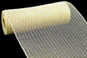 25cm x 9.1m Deco Poly Mesh Ribbon - Cream with Gold Foil