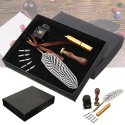 CoCocina Antique Feather Writing Quill Pen Ink Seal Wax Set Collection Stationery Gift