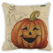 Pillowcase Halloween ,Wakeu Throw Pillow Cover Cushion Pumpkin Linen Blend Zipper Pillowcase 46cm x 46cm