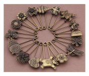 Pack of 16 Bronze Vintage Hijab Pins Brooch Pins Safety Pins Steampunk Accessories
