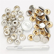 New 22pcs 15mm Metal Canvas Buckle Quick Snap Fastener Buttons Kits