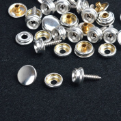 Silver 15mm 10 Sets Snap Fasteners Press Studs w/Screws WOOD TO FABRIC