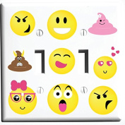 Double Toggle Emoji Light Switch Wall Plate Covers and Outlet Covers / Emoji Room Decor