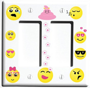 Double Rocker Emoji Light Switch Wall Plate Covers and Outlet Covers / Emoji Room Decor
