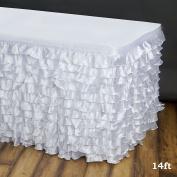 Efavormart 4.3m Flamenca Satin Ruffle Table Skirt - White