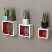 SKB Family 3 White-Red MDF Floating Wall Display Shelf Cubes Book/DVD Home Decorative Bookshelf