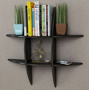 SKB family Black MDF Floating Wall Display Shelf Book/DVD Storage Home Shelves Decorative Mount Bookshelf