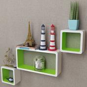 SKB Family 3 White-Green MDF Floating Wall Display Shelf Cubes Book/DVD Home Bookshelf Decorative Mount Shelves