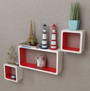 SKB Family 3 White-Red MDF Floating Wall Display Shelf Cubes Book/DVD Home Mount decor Bookshelf Furniture