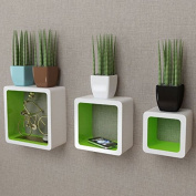 SKB Family 3 White-Green MDF Floating Wall Display Shelf Cubes Book/DVD Home Wall Decor Bookcase Furniture