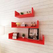 SKB Family 3 Red MDF U-Shaped Floating Wall Display Shelves Book/DVD Storage Home Organiser Wall Decor