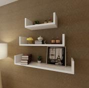 SKB Family 3 White MDF U-Shaped Floating Wall Display Shelves Book/DVD Home Decor Bookshelf Furniture