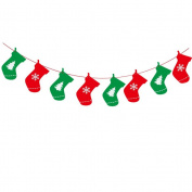 LUOEM Merry Christmas Hanging Garland String Party Flag Decor Banner for Party Home Decoration - Socks