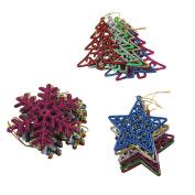Christmas Tree Ornament, Outgeek 18Pcs Glitter Christmas Hanging Snowflake Star Xmas Tree for Party Decor