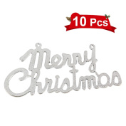 """LUOEM Merry Christmas Glitter Decors Christmas Holiday Sparkling Shimmering """"Merry Christmas"""" Ornaments for Xmas Home Party Favours, Pack of 10 - Silver"""