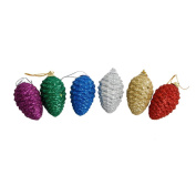 LUOEM 6pcs Christmas Tree Hanging Pinecones Glitter Ornaments Decorations Party Decor for Yard Garden Home - Colourful