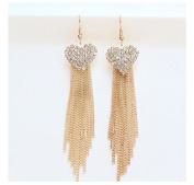 WEIYI Fashion Women Love Heart Long Tassels Rhinestone Pendant Linear Earrings