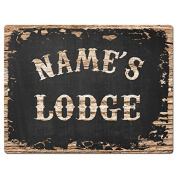 NAME'S LODGE Custom Personalised Tin Chic Sign Rustic Vintage style Retro Kitchen Bar Pub Coffee Shop Decor 23cm x 30cm Metal Plate Sign Home Store man cave Decor Gift Ideas