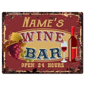 NAME'S WINE BAR Custom Personalised Tin Chic Sign Rustic Vintage style Retro Kitchen Bar Pub Coffee Shop Decor 23cm x 30cm Metal Plate Sign Home Store man cave Decor Gift Ideas