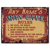 ANY NAME'S MAN CAVE RULES Custom Personalised Tin Chic Sign Rustic Vintage style Retro Kitchen Bar Pub Coffee Shop Decor 23cm x 30cm Metal Plate Sign Home Store man cave Decor Gift Ideas