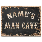 NAME'S MAN CAVE Custom Personalised Tin Chic Sign Rustic Vintage style Retro Kitchen Bar Pub Coffee Shop Decor 23cm x 30cm Metal Plate Sign Home Store man cave Decor Gift Ideas