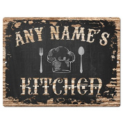 ANY NAME'S KITCHEN Custom Personalised Tin Chic Sign Rustic Vintage style Retro Kitchen Bar Pub Coffee Shop Decor 23cm x 30cm Metal Plate Sign Home Store man cave Decor Gift Ideas