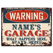 WARNING NAME'S GARAGE Custom Personalised Tin Chic Sign Rustic Vintage style Retro Kitchen Bar Pub Coffee Shop Decor 23cm x 30cm Metal Plate Sign Home Store man cave Decor Gift Ideas