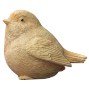 QHYT Home Decorations Animal Statue Wood Sculpture Car Dashboard Ornaments Boxwood Gold Bird