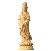 QHYT Home Decorations Buddha Statue Carving Sculpture Boxwood Gold Avalokitesvara Standing on Lotus