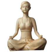 QHYT Home Decorations Yoga Women Figure Statue End Table Wood Ornament Boxwood Artwork Craft Gold