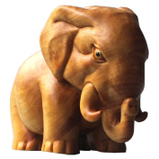 QHYT Home Decorations Animal Statue Wood Sculpture Car Dashboard Ornaments Boxwood Gold Elephant