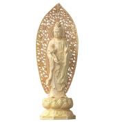 QHYT Home Decorations Buddha Statue Three Sages Sculpture Boxwood Gold Mahasthamaprapta