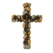 Comfy Hour 33cm Stones Keys Cross, Stone Resin Sculpture, Christmas Gift, Multi Colour