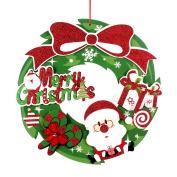 BESTOYARD Merry Christmas Wreath Santa Holiday Wreath for Festival Tree Door Wall Decoration Ornaments